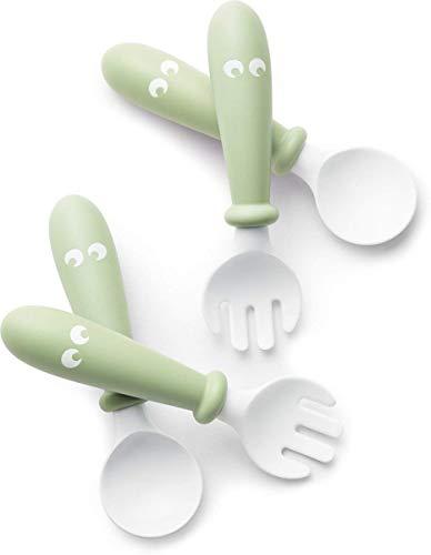BabyBjörn Cuchara y tenedor para bebé, 4 piezas, Verde