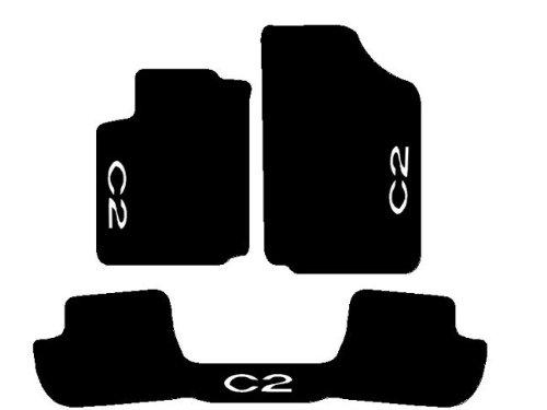 Passgenaue Fußmatten für Citroen C2, Schwarz, Komplettset aus Teppichmaterial, Matte für Rücksitze durchgehend mit Garnstickerei Bianco