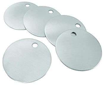 CH Hanson Metal Stamping Blanks - 1-1/4  Blank Tags with Holes Name & Pet Tags Label Equipment - Model 1090A Durable 18-Gauge Aluminum  100 Count