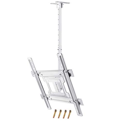 JXMTSPW TV Ceiling Mount White Monitor Wall Bracket Most 32-60 inch Flat Curved Screen Display Adjustable Height Tilt Swivel Full Motion Fit 39' 40' 48' 49' 50' 55' 58' up to VESA 400x400mm 100lbs