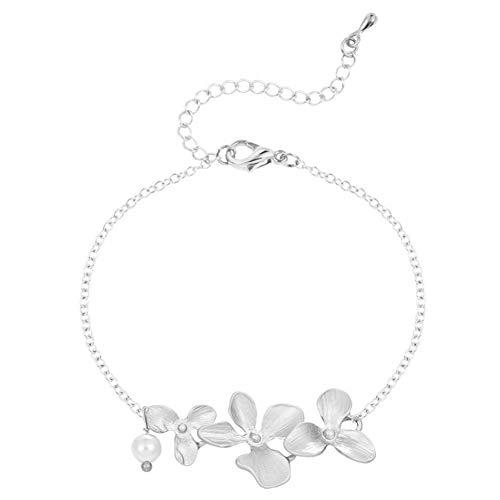 DMUEZW Señoras de la Moda de la joyería de la orquídea del Encanto Pulseras de Flores para Las Mujeres de la Boda joyería de Dama de Honor Brazalete de Plata Pulsera Pura