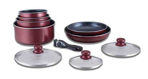 Herzberg Batterie de cuisine - lot de casserole induction - set casserole et poele tous feux - set de cuisine en revêtement pierre avec manche amovible 10 pieces HG-5000 Bordeaux