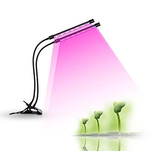 TTSEFW Pflanzenlampe LED Vollspektrum Grow Lampe 3 Beleuchtungsmodi, 5 Helligkeitseinstellungen Mit Timer 3H/6H/12H Für Zimmerpflanzen, Gewächshaus, Grow Shelves,2 Tubes