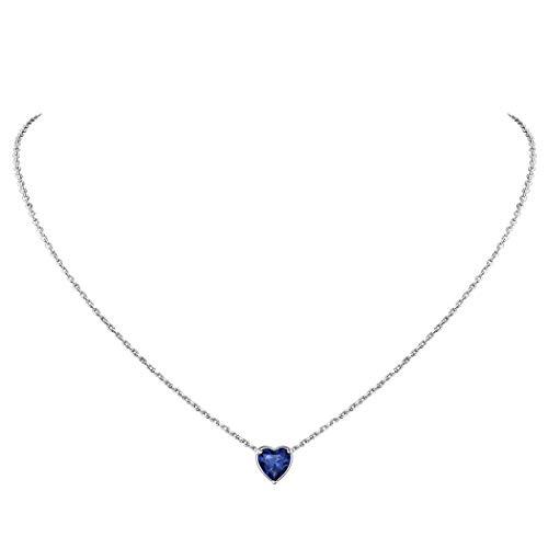 Collares con Piedras Natales de Septiembre Tanzanita Azul Oscuro Colgante Corazón de Plata de Ley 925 Chapado en Platino Plateado