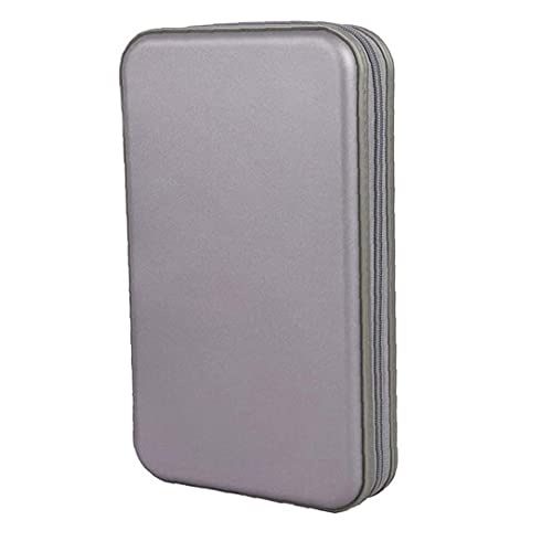 NIDONE Bolsa CD CD Titular Caja de la Carpeta Carpeta DVD DVD Organizador del almacenaje de plástico Duro 80 Capacidad portátil Gris