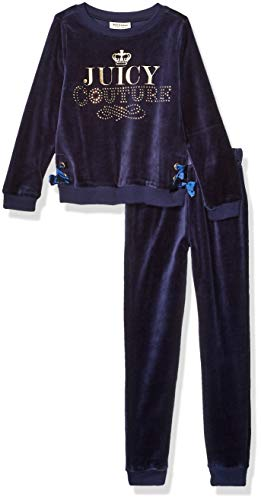 Juicy Couture Girls' Little 2 Pieces Velour Pants Set, Navy, 6