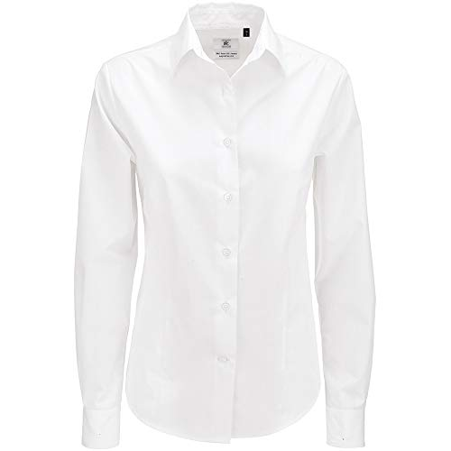 B&C Women's Smart Long Sleeve Blouse Camisa, Blanco (White 000), 48 (Talla del Fabricante: XXX-Large) para Mujer