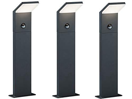 3er SET moderne LED Wegeleuchte aus wetterfestem ALU inkl. Bewegungsmelder, Anthrazit, IP54, Höhe 50 cm