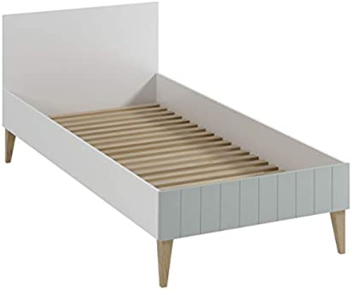 Mirjan24  Kinderbett Bingo BN09, Jugendbett mit Lattenrost, Schlaffl e 90x200cm  , Bett für Jugendzimmer, Komfortbett, Kinderzimmer (WeißGrau)