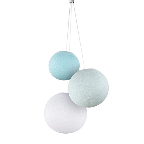 Suspension 3 Globes Ciel-azur-blanc