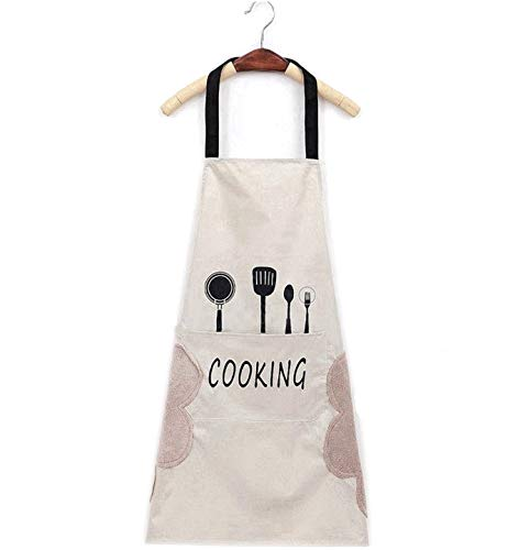 Guizu Delantales Impermeables Ajustables del Cocinero con Bolsillo Cocina de Cocina para Mujeres Hombres,Delantal Chefs Cocina para Cocinar/Hornear (Blanco)