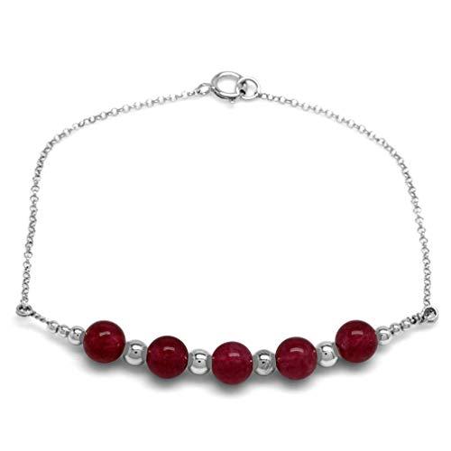 Pulsera de cadena de plata de ley 925 con bola de ágata roja de 6 mm y 5 piedras de 7 pulgadas