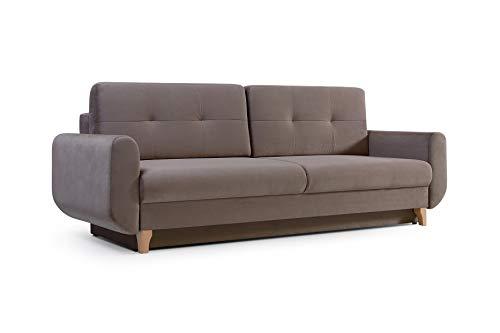 mb-moebel Modernes Sofa Schlafsofa Kippsofa mit Schlaffunktion Klappsofa Bettfunktion mit Bettkasten Couchgarnitur Couch Sofagarnitur 3er Saphir (Cappuccino)