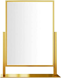 Vanity Mirrors 360° Rotatable Personal Makeup Mirrors Women Tabletops Beauty Mirror for Daughter Wife Mother Festival Gifts OO (Color : Gold, Size : 46x40cm) (Color : Gold, Size : 46x40cm)