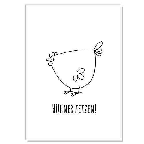 wiese-art Postkarte Hühner fetzen, huhn, hahn, chicken