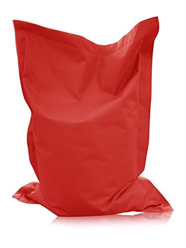 alibey Pouf rectangulaire pour enfant, coussin d'assise géant, 15 couleurs, pour l'intérieur et l'extérieur, rouge, XXL = 160 x 120