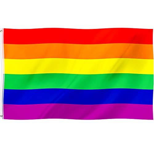 Regenbogen Fahne Homosexuell Stolz Flagge LGBT Banner Flaggen 6 Streifen, 5 x 3 Füße/ 150 x 90 cm für LGBT Festival und Feier