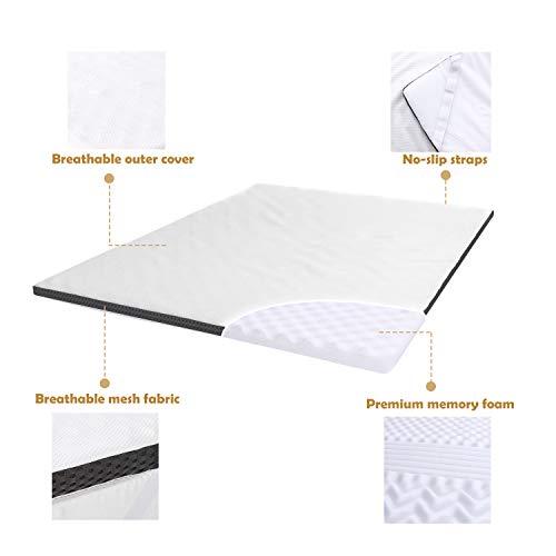 Amazon Basics - Cubrecolchón de espuma con memoria confortable con correas, 4 cm - 135 x 190 cm