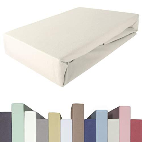 Edda Lux Sábana bajera ajustable para cama de muelles y colchones de hasta 40 cm de alto, calidad prémium, algodón m. 5% elastano, 190 g/m², 180 x 200, 200 x 200, 200 x 220 cm, sábana bajera ajustable