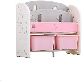TheTickleToe Bookshelf for Kids Toy Storage Baskets Rack, Pink, 85 L x 34 W x 72 H cm