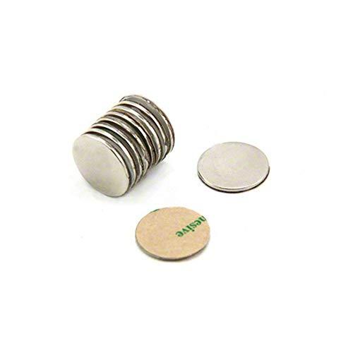 Magnetastico | 10 Piezas imanes autoadhesivos de neodimio N52 Disco 20x1 mm | Imanes Fuertes Adhesivos con Cinta Adhesiva | Imanes N52 con película Adhesiva, Fuerza Adhesiva Extra