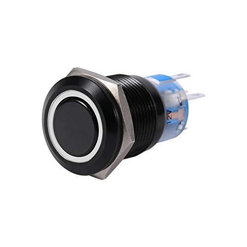 Interrupteur à Bouton-Poussoir, Keenso Commutateur Autobloquant 19mm 12V Commutateur de Verrouillable Commande de Loquet à LED On/Off Coquille Noire en Métal Etanche (White)