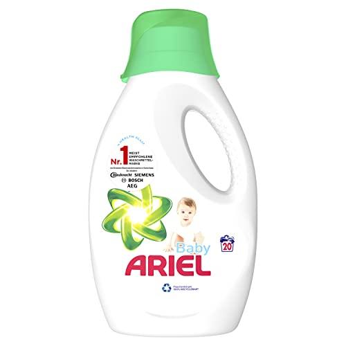 Ariel Waschmittel Flüssig, Flüssigwaschmittel, 20 Waschladungen, Baby für sensible Haut und Babyhaut (1.1 L)