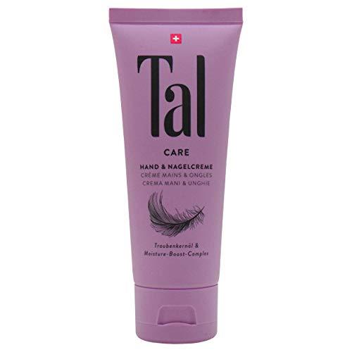 Tal Care Hand- & Nagelcreme 75 ml, tägliche Hand- und Nagelpflege für beanspruchte, rissige Hände, feuchtigkeitsspendendes Traubenkernöl, spürbarer Glatteffekt mit blumiger Duftnote, zieht schnell ein