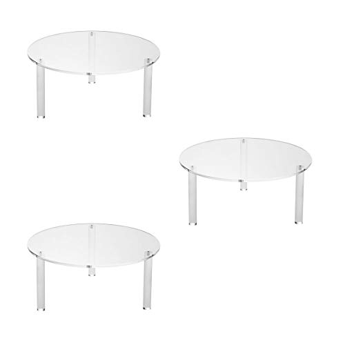 NIUBEE 3 Clear Round Acrylic Pedestal Display Risers Stand for Displaying Pizza, Cakes, Cupcakes, Danishes Pastries (12')
