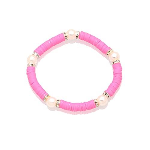 Pulsera ZIYUYANG, pulsera elástica de perlas de imitación de perlas de piedra negra de arcilla polimérica de 6 mm para mujer 17
