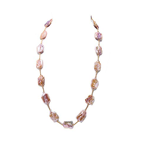 JYX Pearl Tin Cup Necklace Baroque Pearl Necklace Lavender Cultured Freshwater Pearl Station Necklace 32' Costume Jewelry