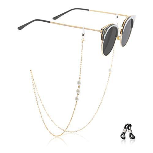 Kalevel 眼鏡チェーン 不対称 イミテーション パール付き メガネホルダー ネックレス (シルバー)
