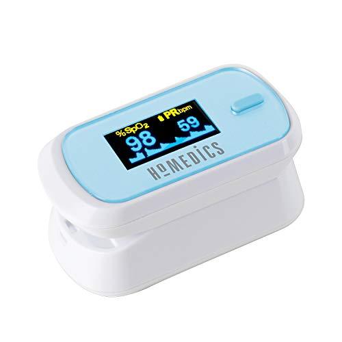 HoMedics Fingerspitzen-Pulsoximeter - Misst Sauerstoffsättigung, Pulsfrequenz, Perfusionsindex und Pulsbalken, groß, zweifarbig, leicht ablesbares OLED-Display, auch für unterwegs, inklusive Batterien