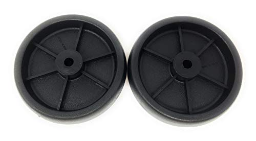 """Nickanny's Set of 2 Replacement BBQ Grill Wheels Pair Set Kit-Solid Plastic Wheel 5"""" x 1.5"""" w/ 3/8"""" Axle Hole for Outdoor Charcoal Gas Smoker Barbecue Pit- Rueda and Llantas Parts"""