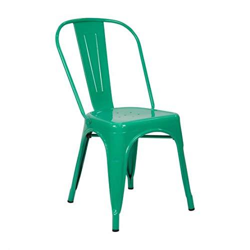 Vaukura Silla Oliix - Silla Industrial Metálica Brillo (Verde)