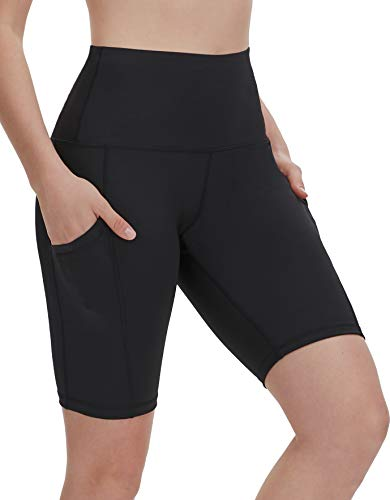 DILANNI Women's Yoga Shorts with Pockets- High Waisted Compression Workout Shorts for Women - Girls Running Shorts with Tummy Control for Athletic Biker Black