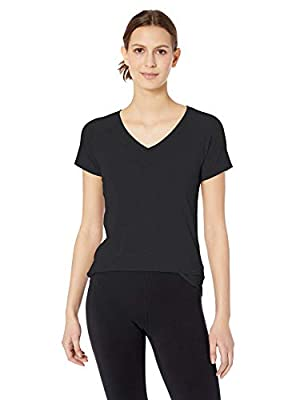 Amazon Essentials Women's Studio Short-Sleeve Lightweight V-Neck T-Shirt, -black, X-Large