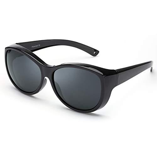 SIPHEW Sonnenbrille für Brillenträger Damen/Hurren, Polarisierte Sonnenbrille (Schwarz)