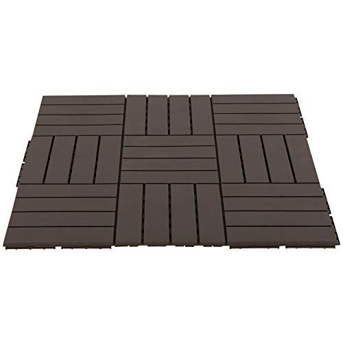 Outsunny Caillebotis - Dalles terrasse - Lot de 9 - emboîtables, Installation très Simple - Petits Carreaux Composite Plastique Imitation Bois Chocolat