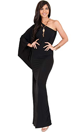 KOH KOH Plus Size Womens Long One Off The Shoulder Evening Cocktail Bridesmaid Wedding Party Tube Guest Summer Formal Flowy Elegant Sexy Gown Gowns Maxi Dress Dresses, Black XL 14-16