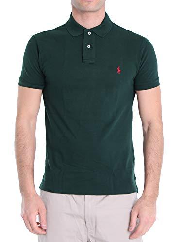 Polo Ralph Lauren Mod. 710795080 Poloshirt Piqué Kurze Ärmel Slim Fit Herren Grün M