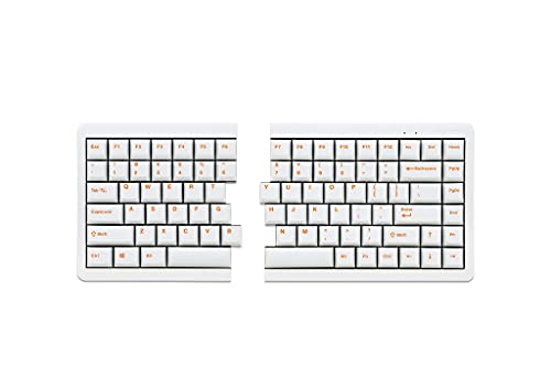 Mistel MD770 RGB LED Backlit TKL Split Mechanical Keyboard with Cherry MX Brown Switch, Ergonomic Keyboard with Orange Letter PBT Double Shot Keycaps for Windows and Mac, White Color, Macro Support