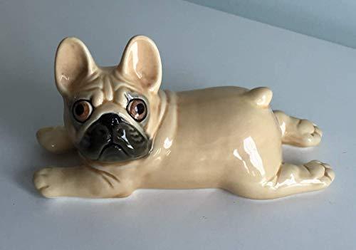 Lying French bulldog fawn (beige) porcelain (faience) figurine, handmade, porcelain dog figurine