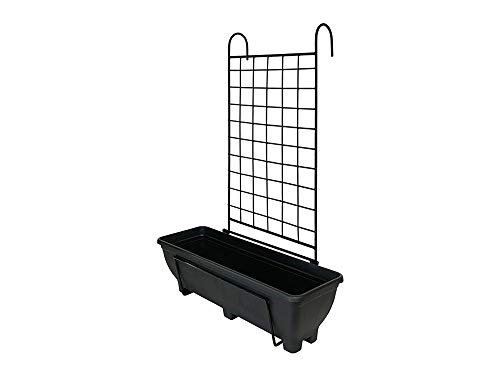Garden Pride Hanging Balcony Planter with Trellis - 60cm Trough holder for use on balconies, fences or railings. An ideal alternative to a window box. (Charcoal Trough)