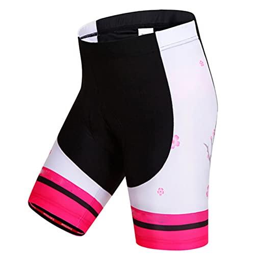 Pantalones cortos de ciclismo mujeres con gel 3d acolchado , MTB Pantalones cortos de bicicleta de ciclo, cintura elástica gimnasio deportes pantalones cortos mujer, jogging fitness marathon apretado