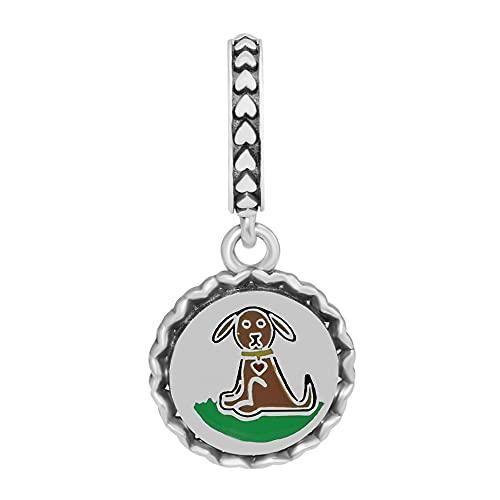 Pandora 925 de plata esterlina perro figura de palo cuelga la pulsera Original que hace las mujeres joyería de bricolaje