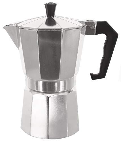 MIK Funshopping Klassischer Espressokocher aus Aluminium, metallic, für Vollmundigen Espresso, Cafe Maker (6 Tassen)