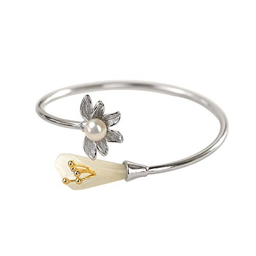Angelazy armband voor dames, sterling zilver 925, fashion vintage verstelbaar met intarsia en jade lotusplant vorm armband voor dames jurk mat