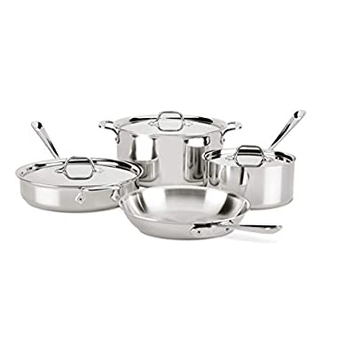 All-Clad 8400001958 4007AZ D3 Stainless Steel Dishwasher Safe Induction Compatible Cookware Set, Tri-Ply Bonded, 7-Piece, Silver