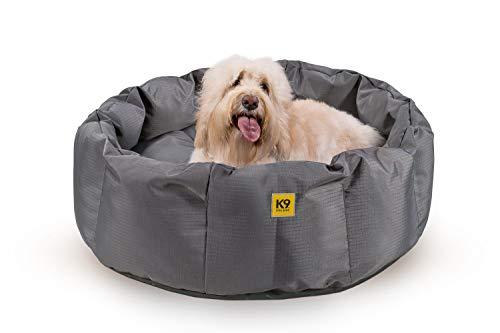 K9 Ballistics Round Dog Bed Deep Den, Bagel, Donut, and Deep Dish Style for Cuddler, Machine Washable (Pewter Grey Black Bottom Large 36' x 28' x 10')